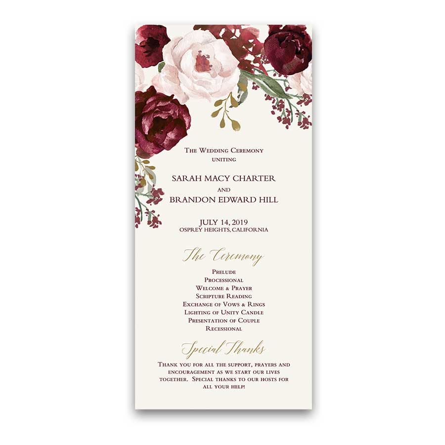 Floral Wedding Wedding Programs Fall Burgundy Gold - Floral wedding program templates