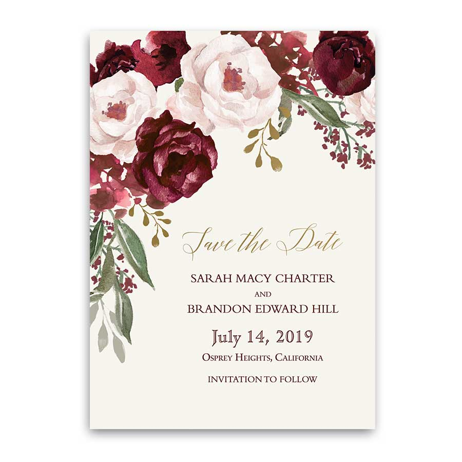 Fall Wedding Save The Date Cards Burgundy Gold