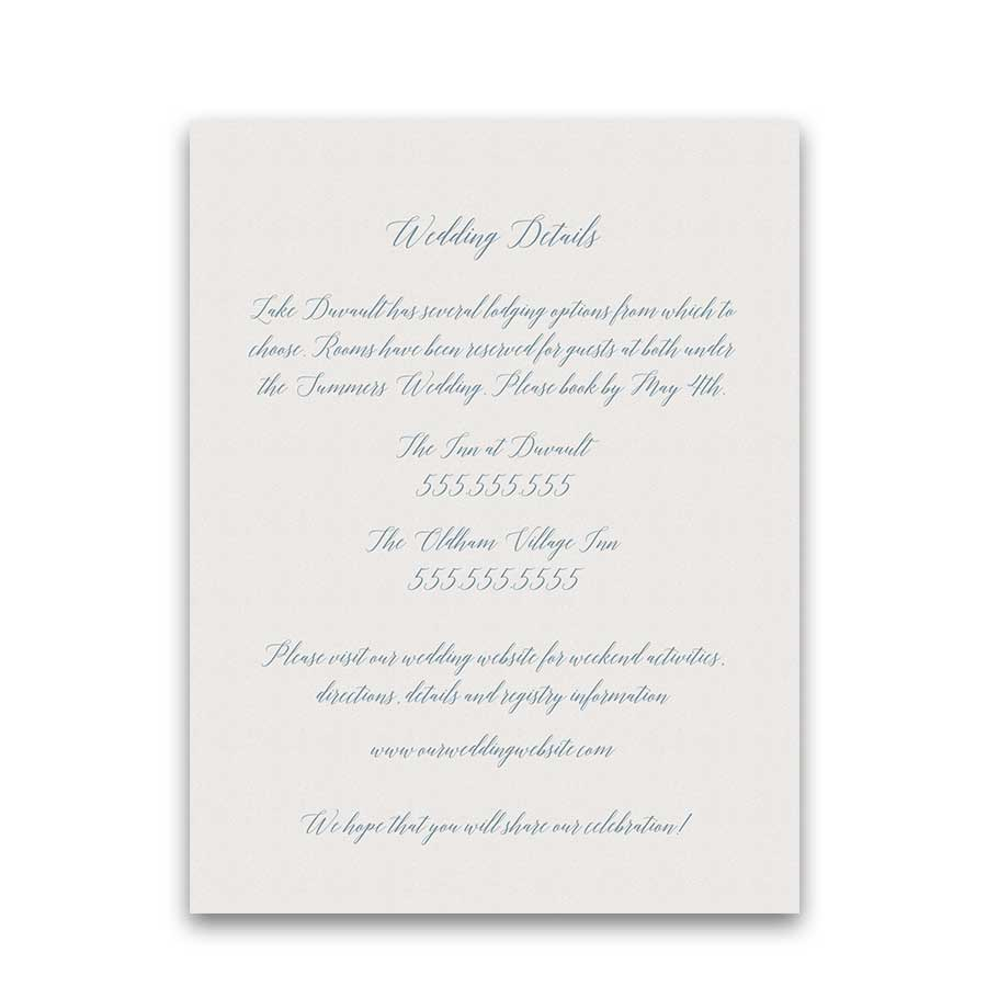 Calligraphy Script Wedding Details Enclosure Cards