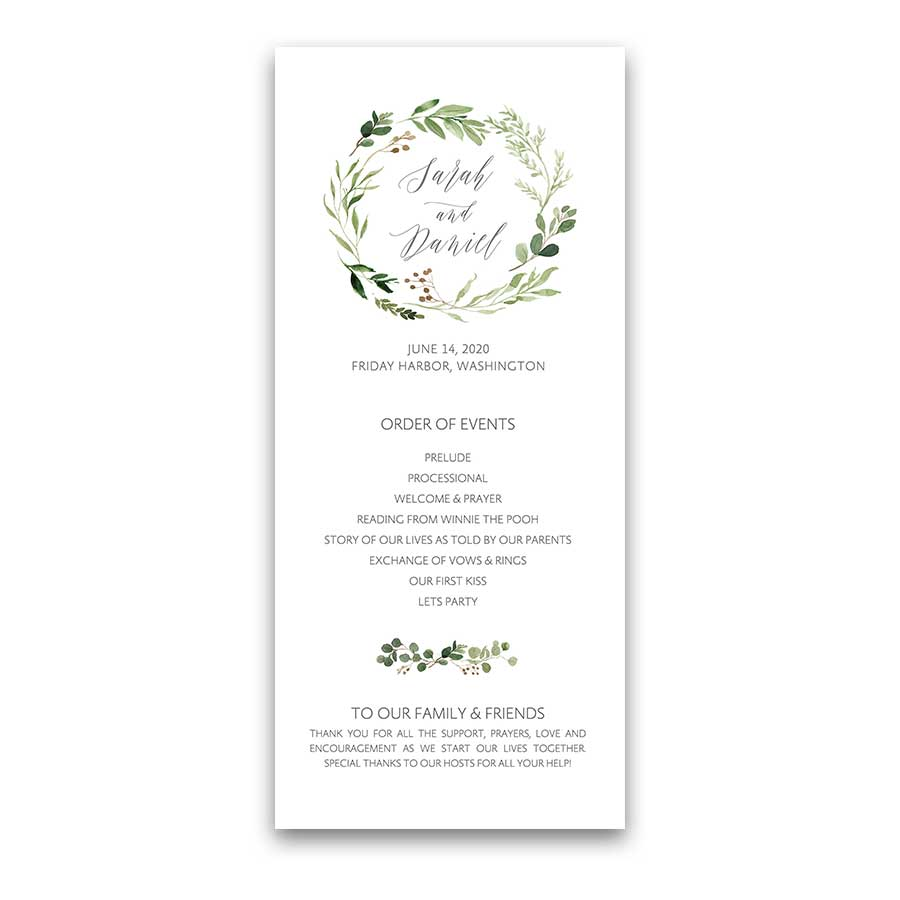 Custom Wedding Program Template Greenery Wreath Script Font