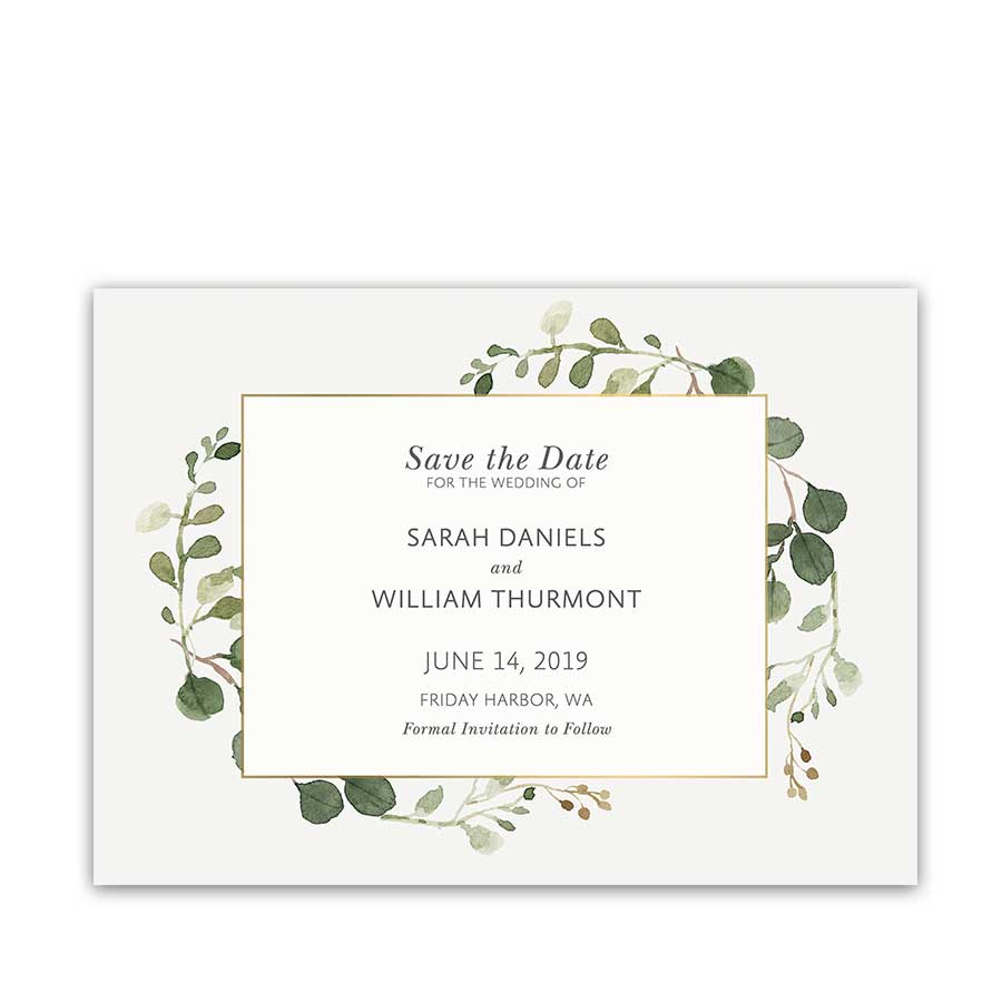 Greenery Save the Date Cards Watercolor Eucalyptus Gold