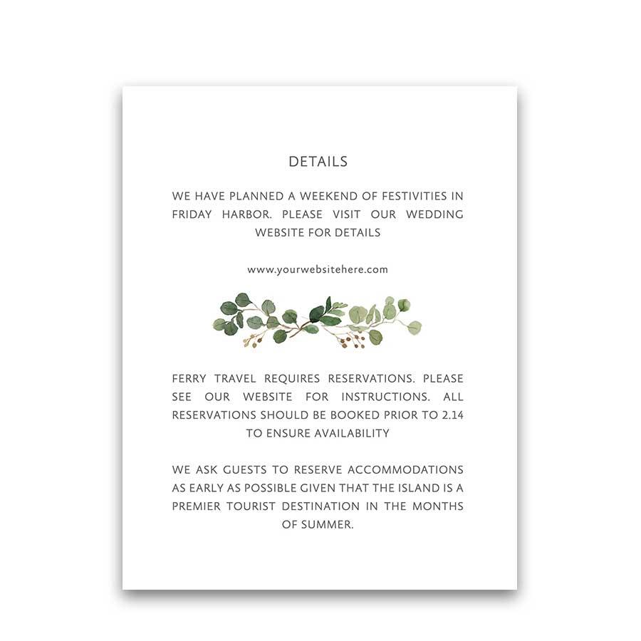 Wedding Enclosure Cards Watercolor Greenery Gold