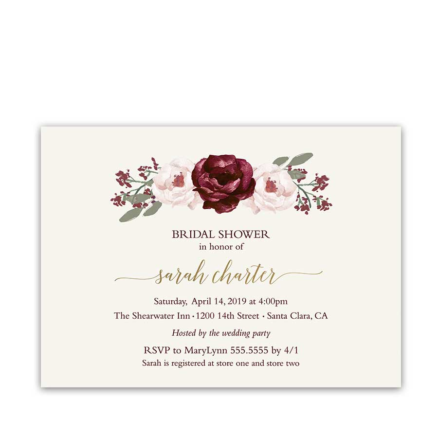 Bridal Shower Invitations Burgundy Wine Blush Florals Gold Accents