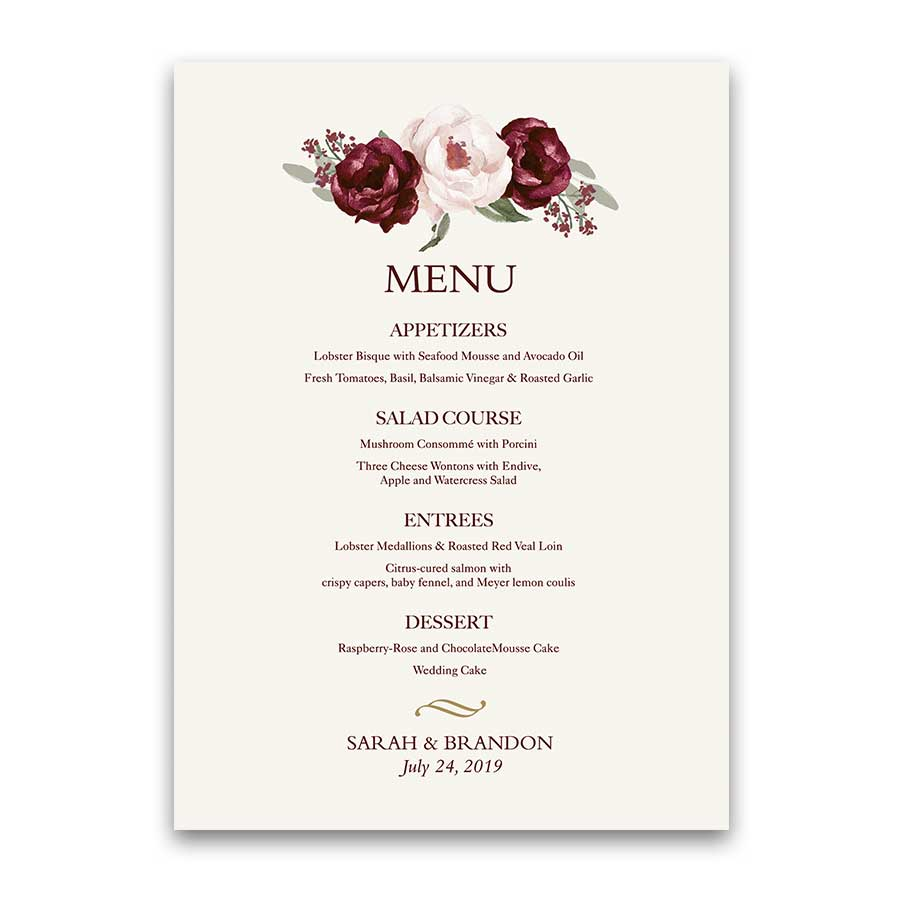 Fall Wedding Menu Burgundy Wine Gold Blush Floral