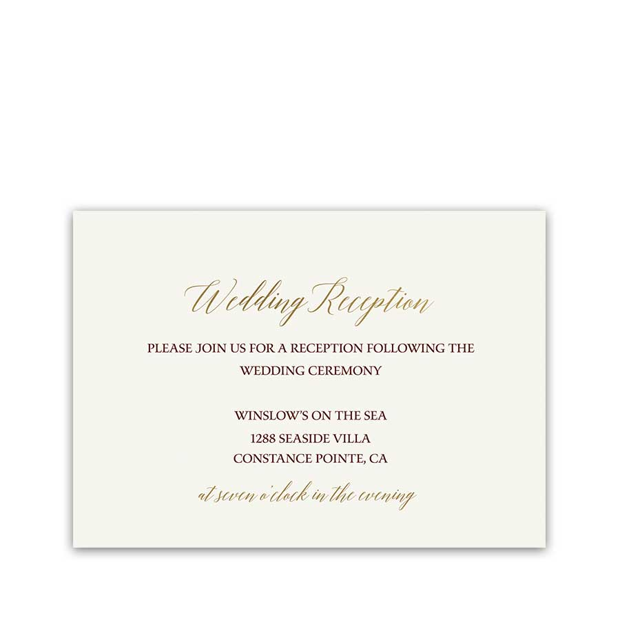 Gold Wedding Reception Information Cards