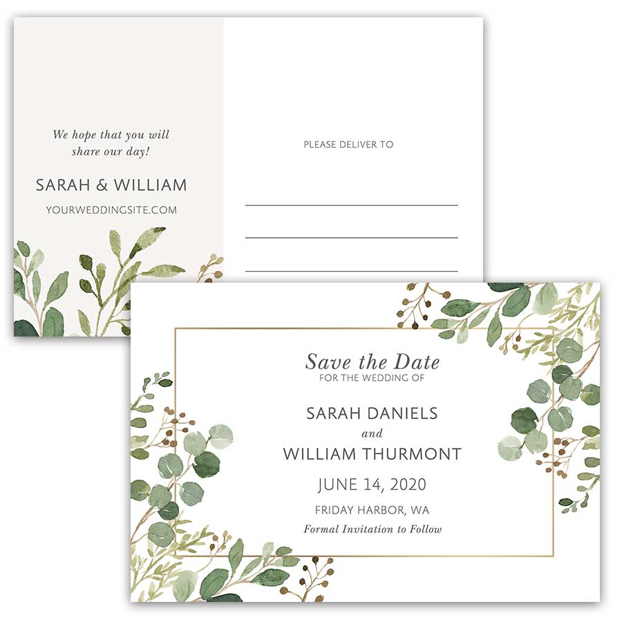 Save the Date Postcards Greenery Watercolor Eucalyptus