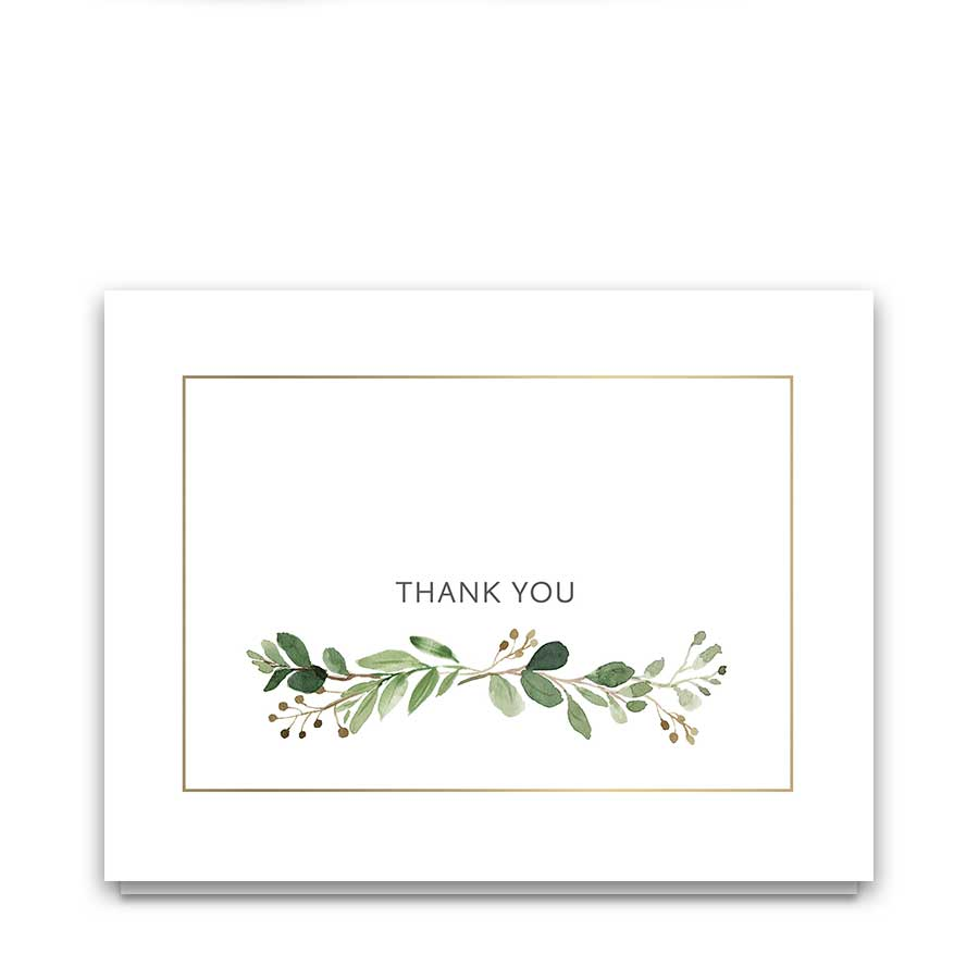 Wedding Thank You Cards Boho Chic Greenery Sprigs