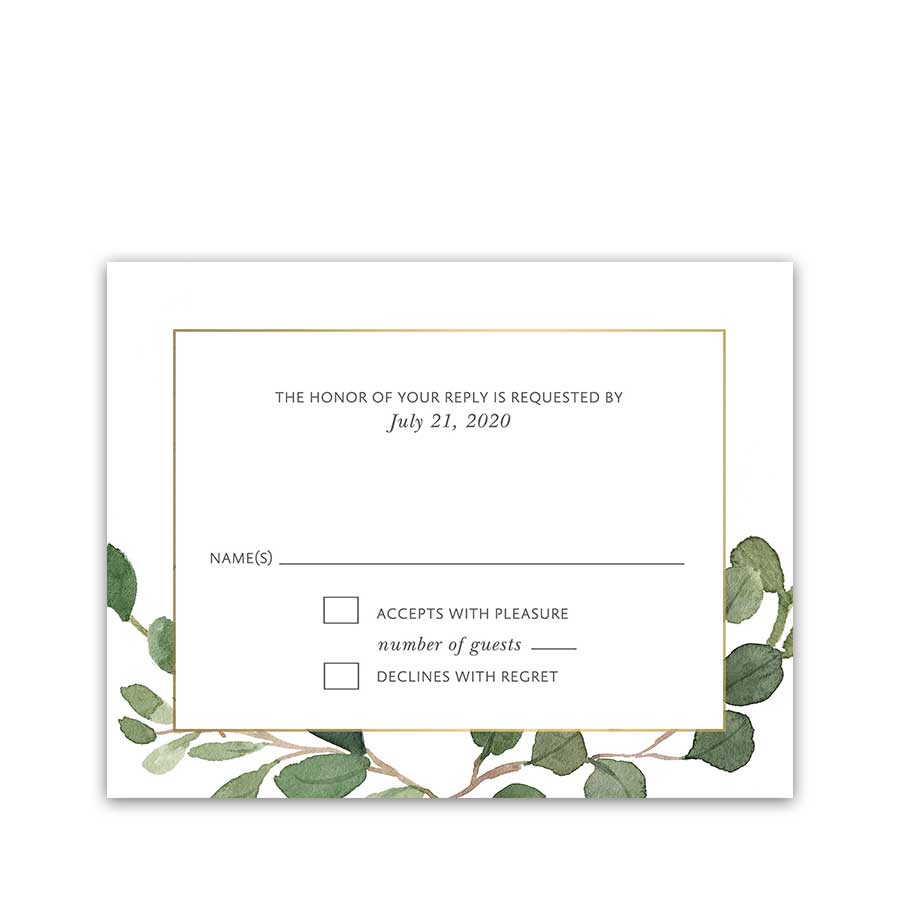Greenery Wedding Reply Card Geometric Gold Frame Eucalyptus