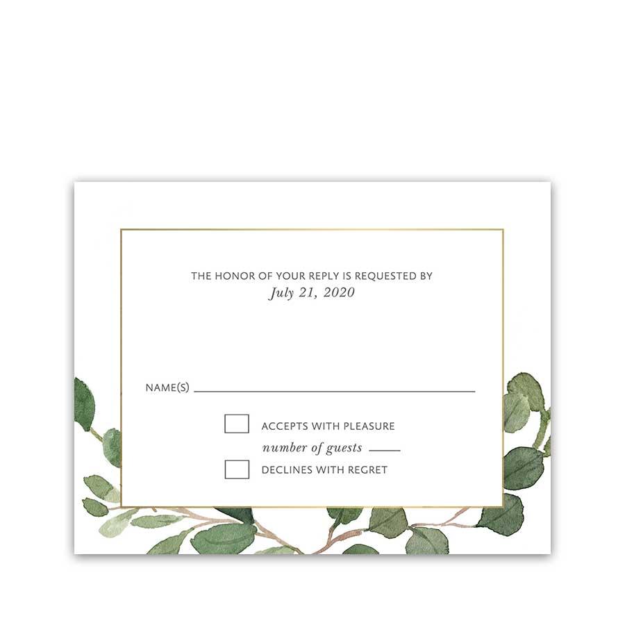 Greenery Wedding Reply Card Geometric Gold Frame Eucalyptus