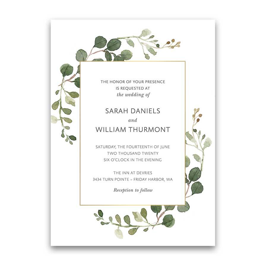 Greenery Wedding Invitations Geometric Gold Frame Eucalyptus