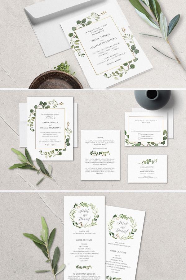 Bohemian Wedding Invitations Boho Chic Greenery Gold