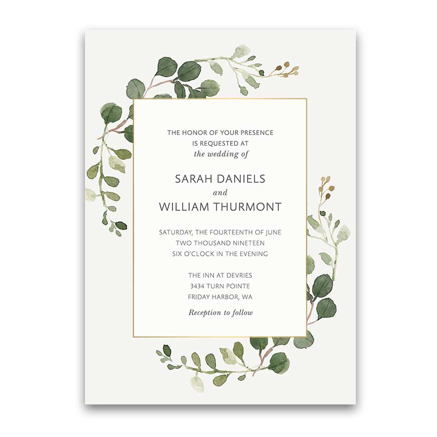 Bohemian Wedding Invitations Boho Chic Greenery Gold