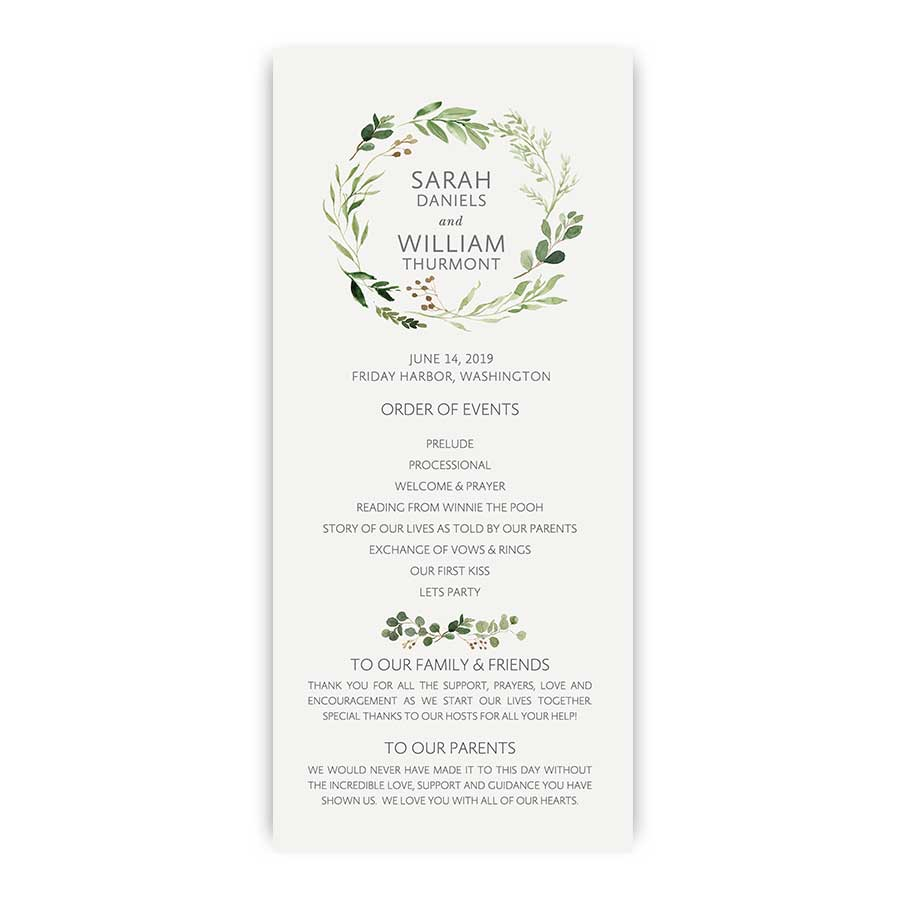 Custom Wedding Wedding Programs Bohemian Greenery