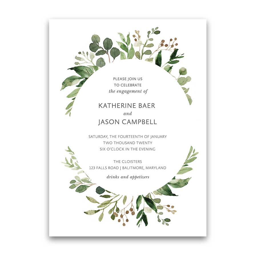Wedding Engagement Party Invitations Greenery Wreath