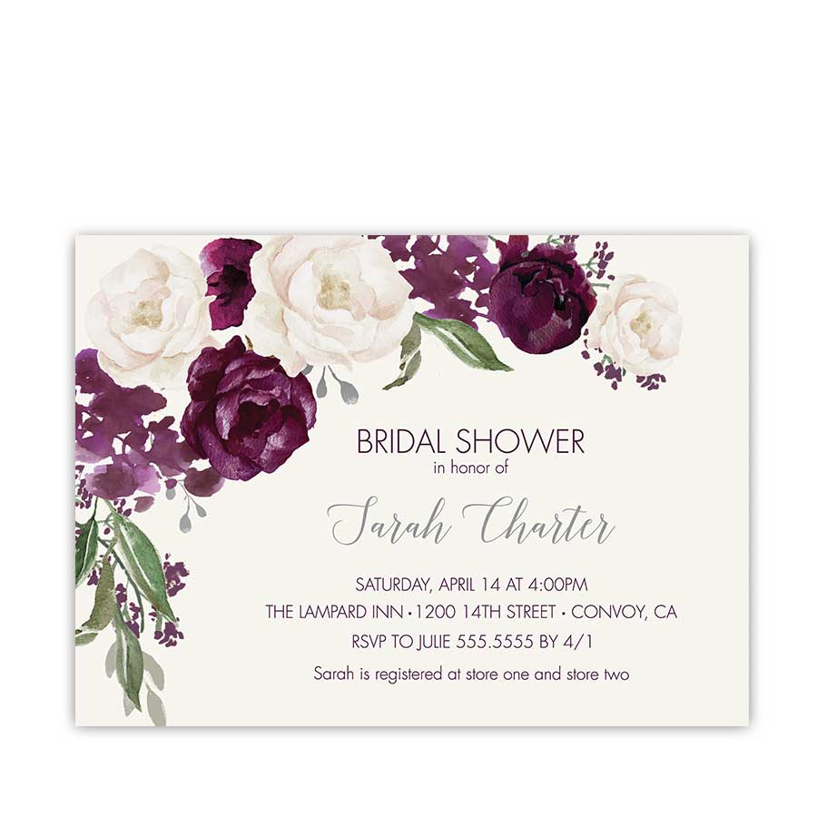 bridal shower invitation purple plum watercolor floral