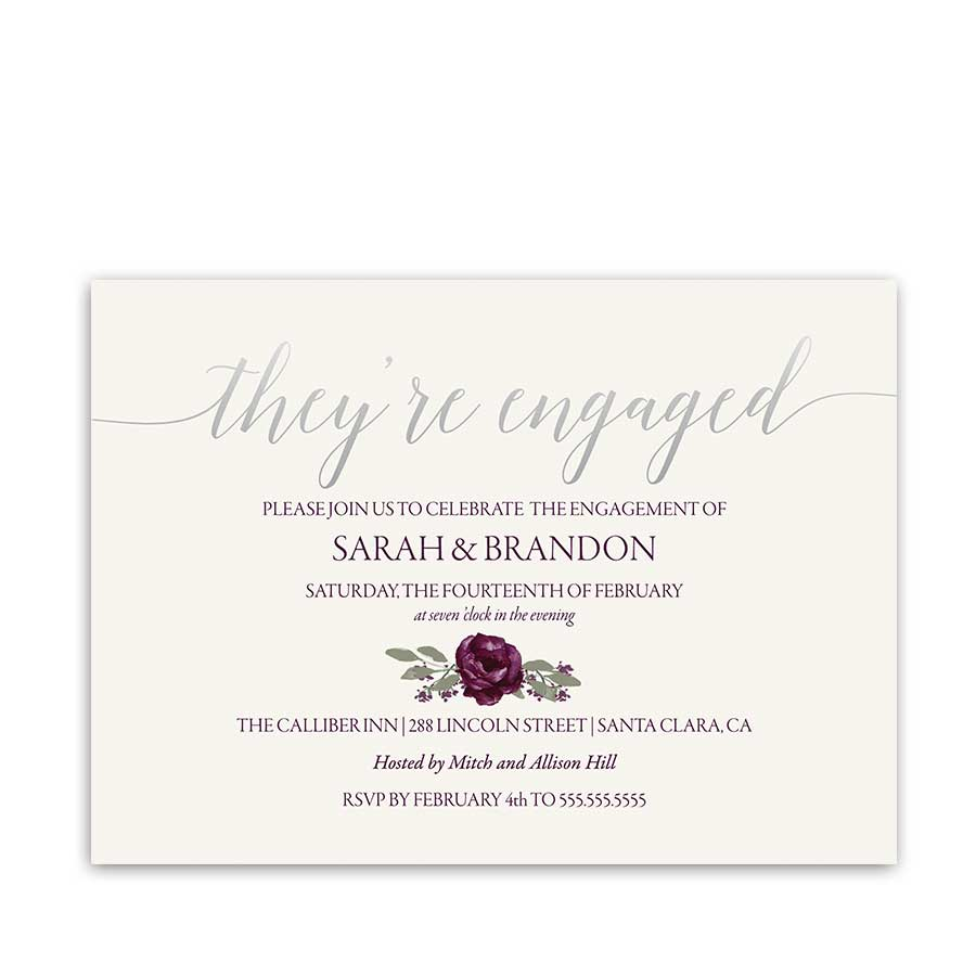 Floral Engagement Party Invitations Purple Plum Silver