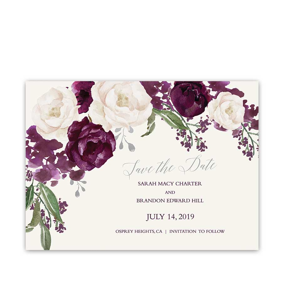 Fall Wedding Save The Date Purple Watercolor Floral Script Calligraphy