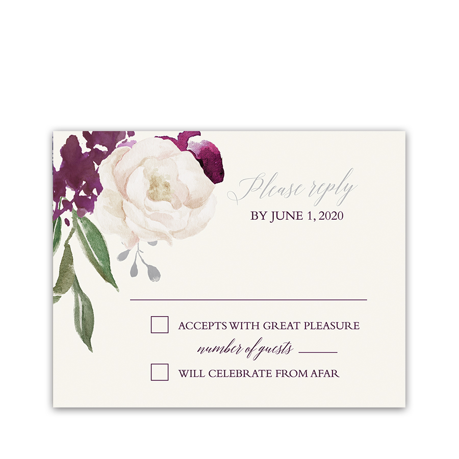 Wedding RSVP Response Cards Plum Purple Fall Floral