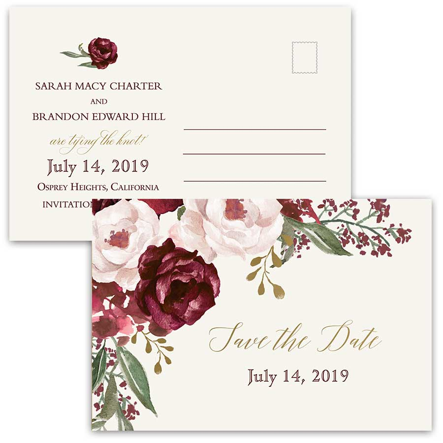 Burgundy Save the Date Wedding Postcard Floral Blush Gold