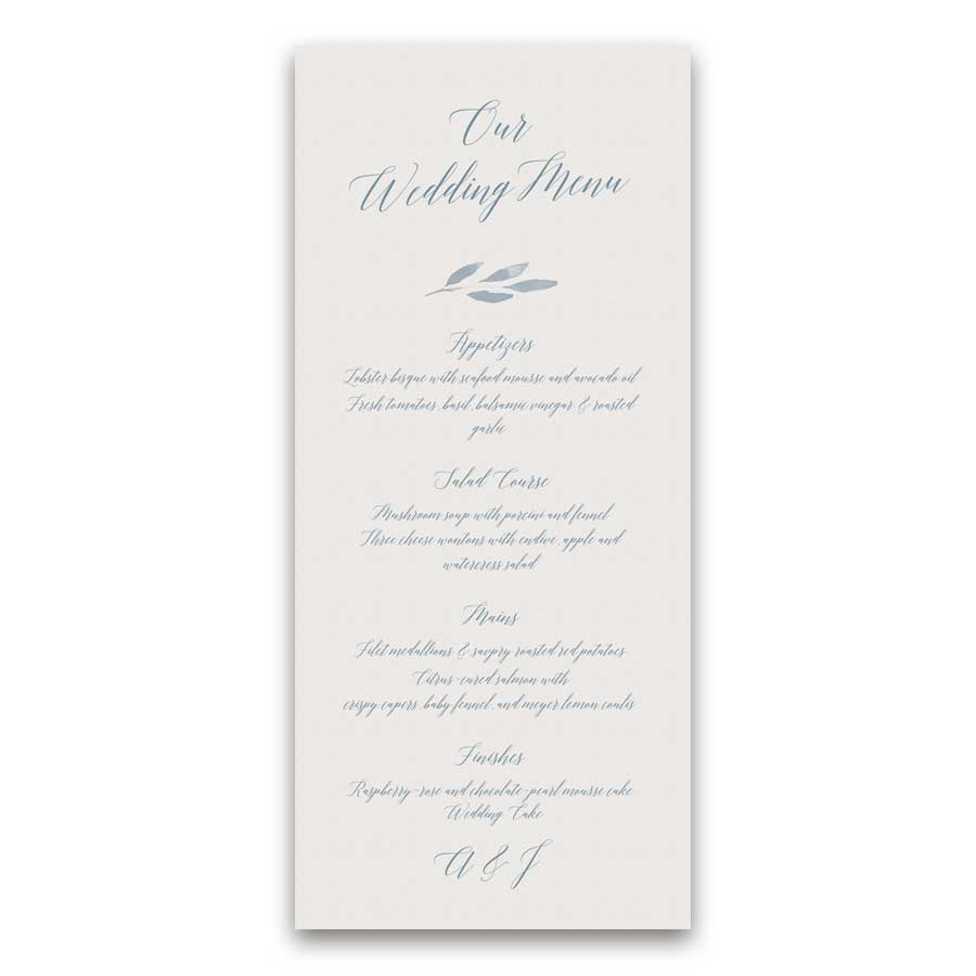 Script Wedding Menu Greenery Calligraphy Handwriting
