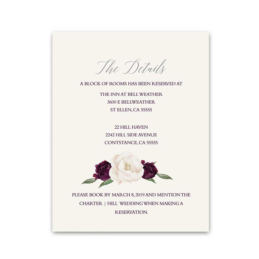 Purple Floral Wedding Guest Additional Information Cards