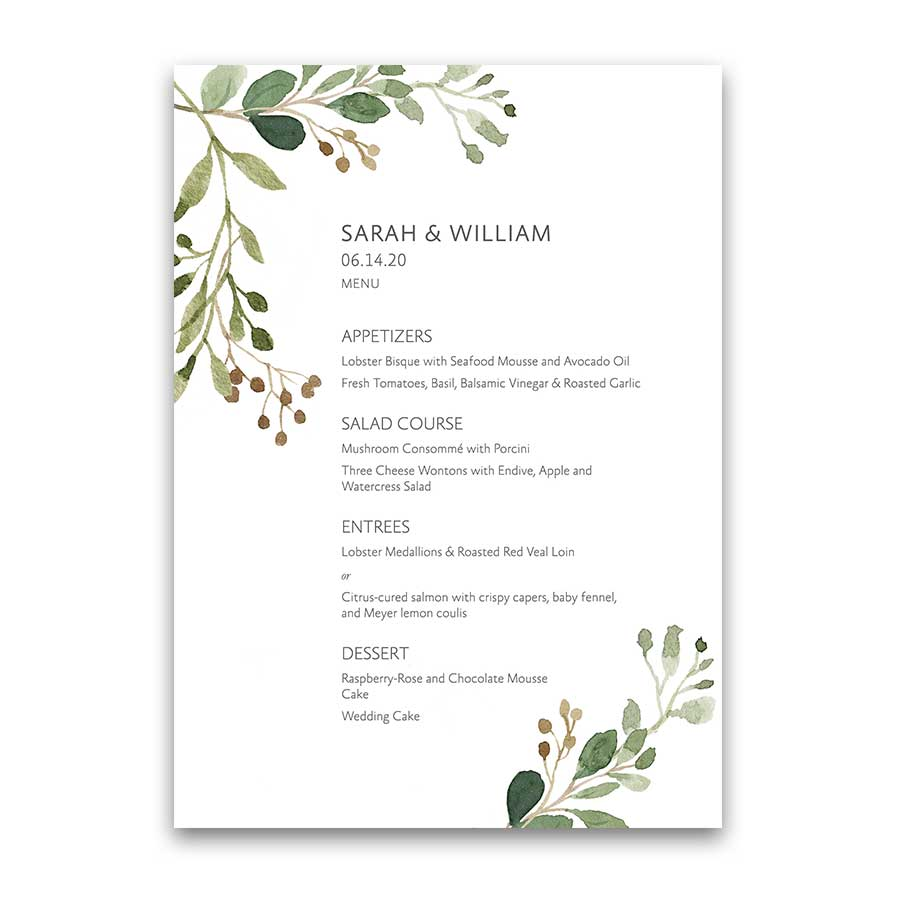 Modern Wedding Menu Boho Chic Watercolor Greenery