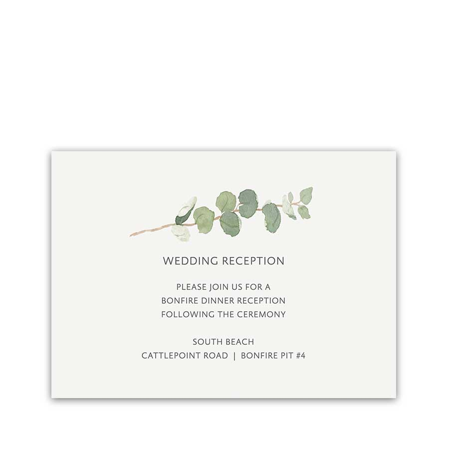 Wedding Reception Details Cards Elegant Greenery Sprigs