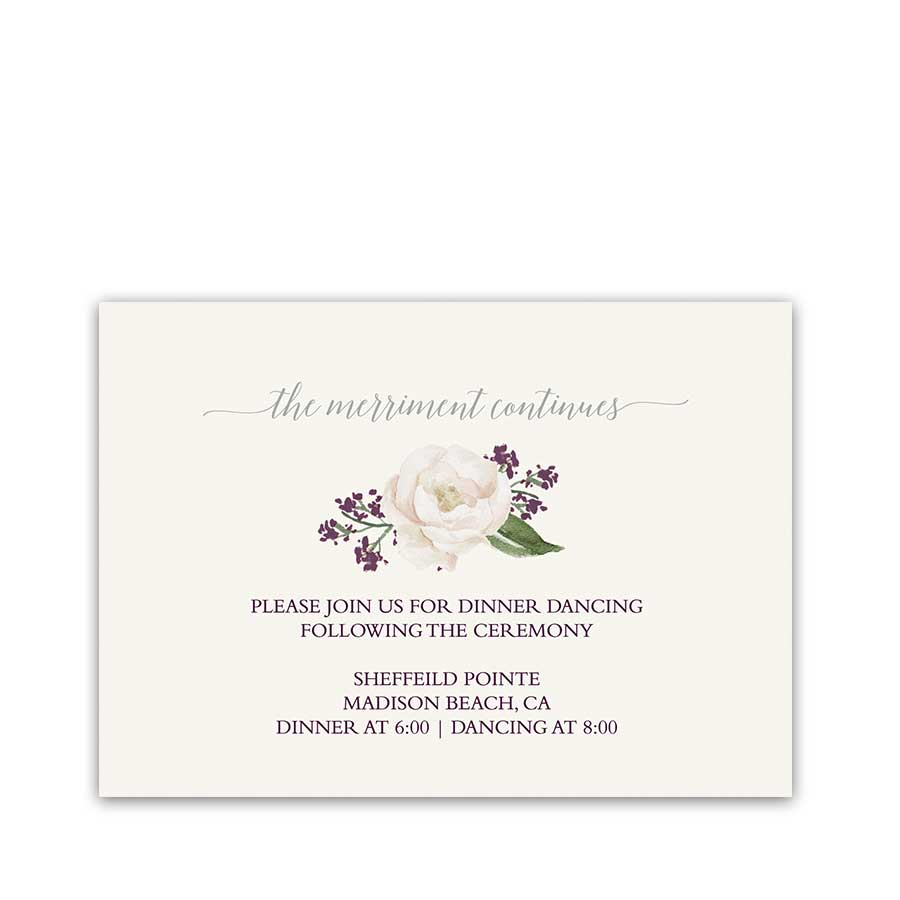 Floral Wedding Reception Details Insert Cards Purple