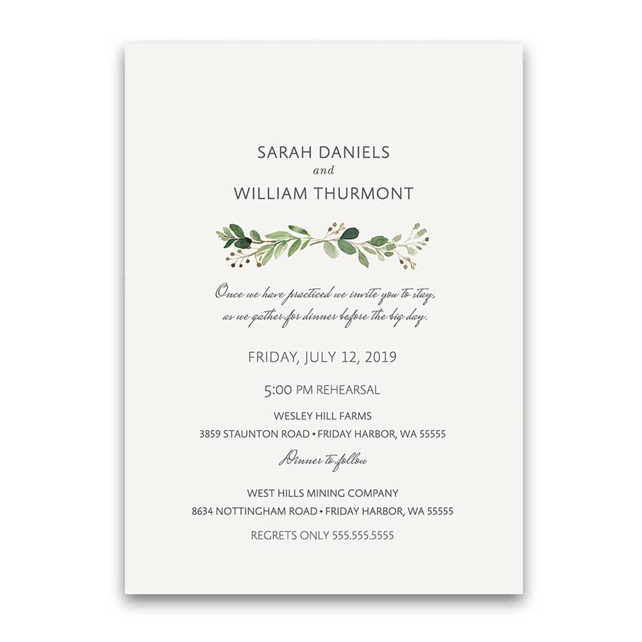 Rehearsal dinner invitations custom designed for your wedding wedding rehearsal dinner invitations greenery watercolor junglespirit Image collections