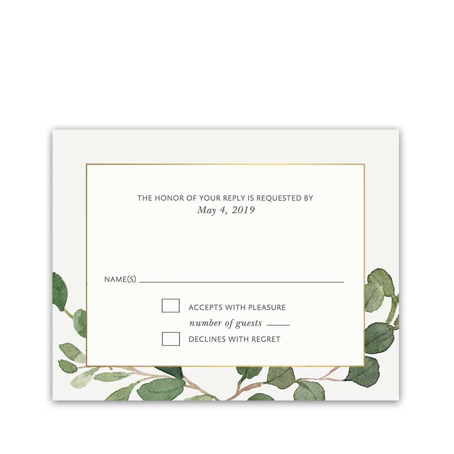 Bohemian Wedding RSVP Cards Boho Chic Greenery Gold