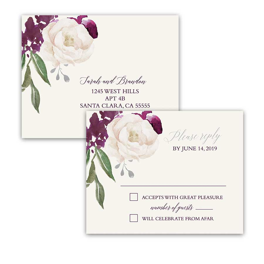 Wedding RSVP Response Postcard Plum Purple Floral