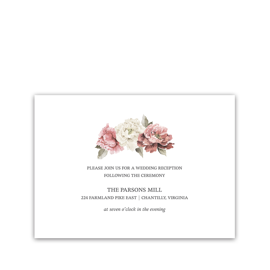 Floral Wedding Reception Details Card Watercolor Greenery