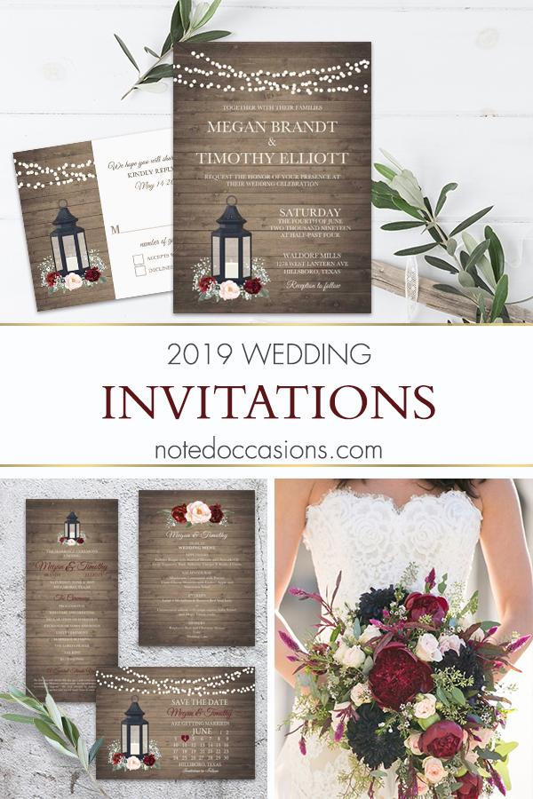 Rustic Metal Lantern Wedding Invitations Burgundy Floral