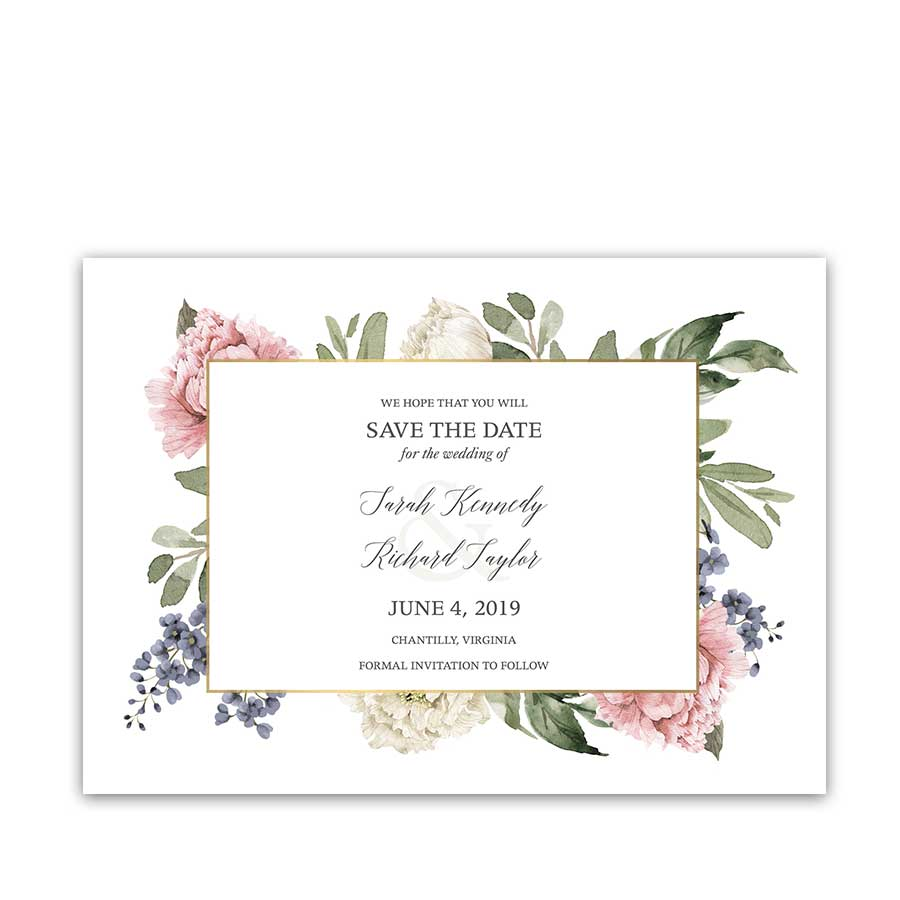 Floral Save the Date Watercolor Greenery Garden Wedding
