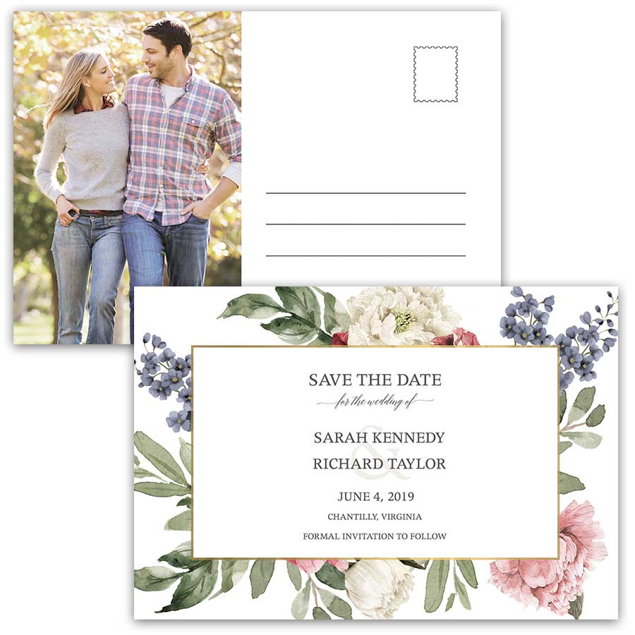 Floral Save the Date Postcards Vintage Watercolor Greenery Garden