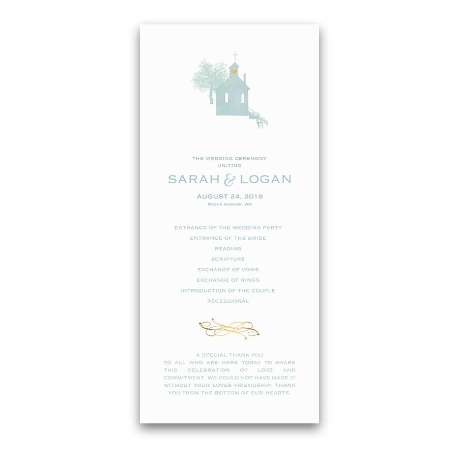 San Juan Islands Wedding Programs Watercolor Chapel