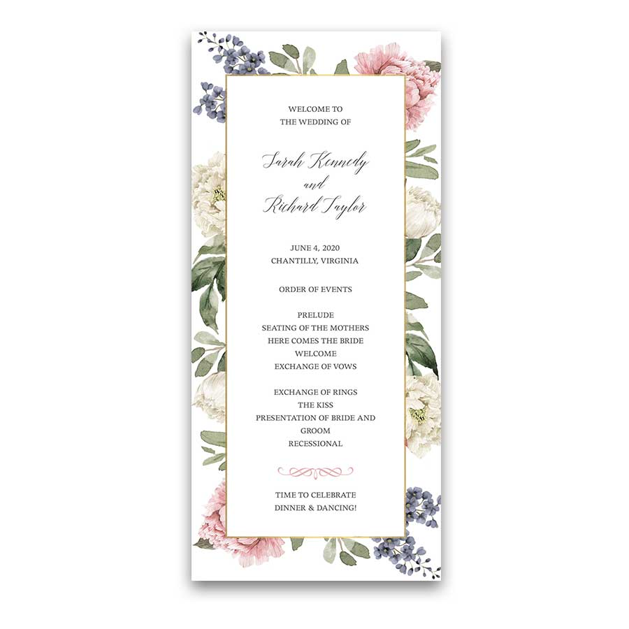 Floral Wedding Programs 2018 Wedding Trends Collection
