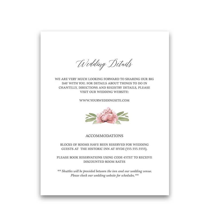 Watercolor Greenery Guest Information Wedding Insert Cards