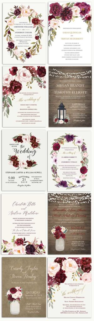 Burgundy Wedding Invitations Floral Watercolor