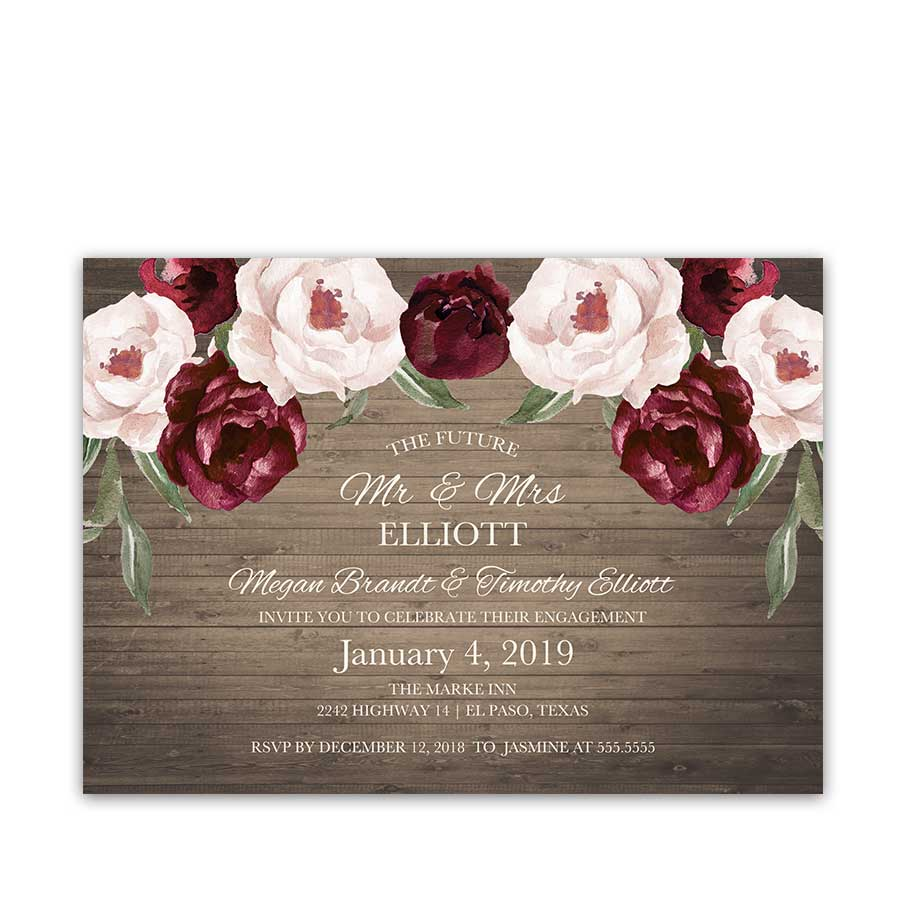 Engagement Party Invitations Burgundy Blush Floral Wedding