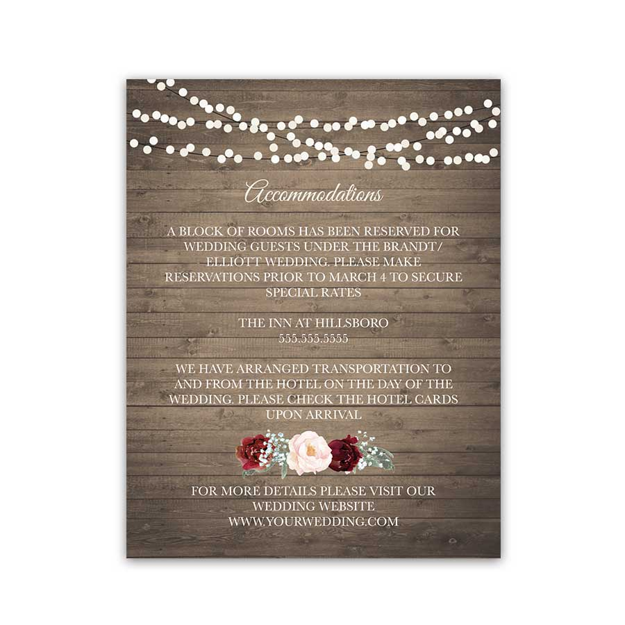 Burgundy Floral Wedding Guest Additional Information Cards