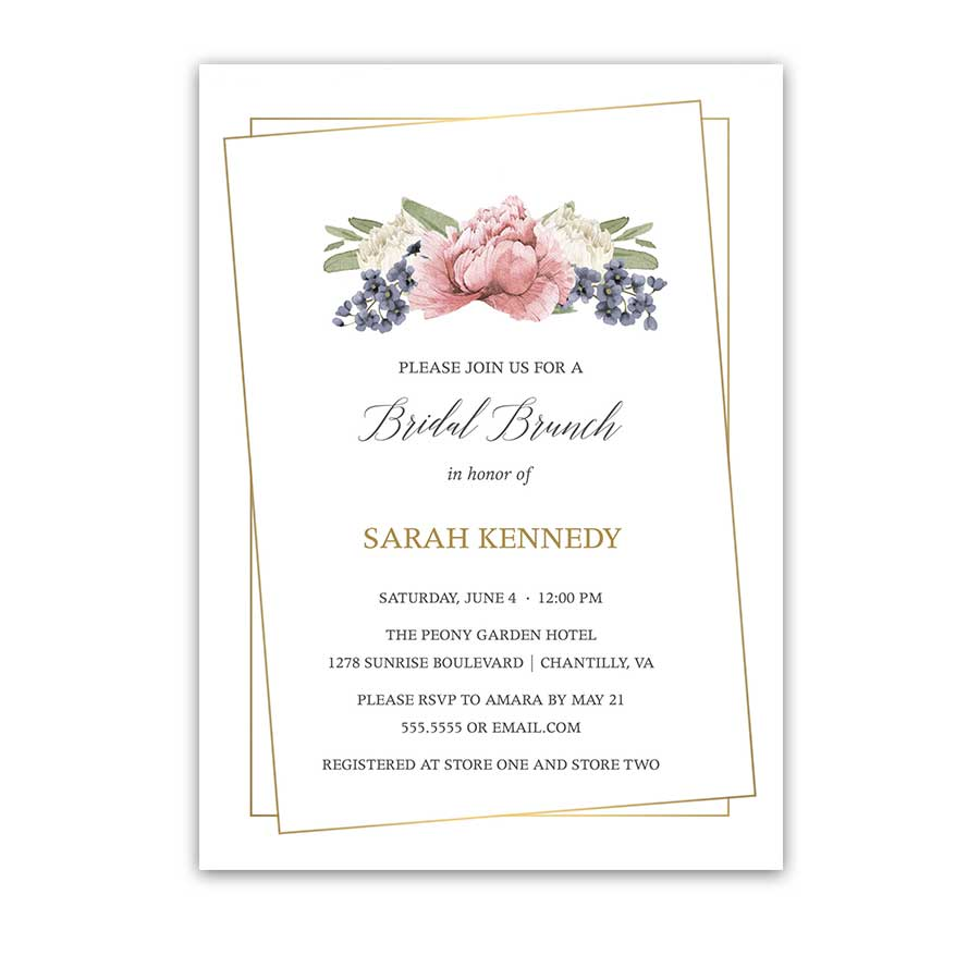 Floral Geometric Wedding Shower Invitations Blush Greenery