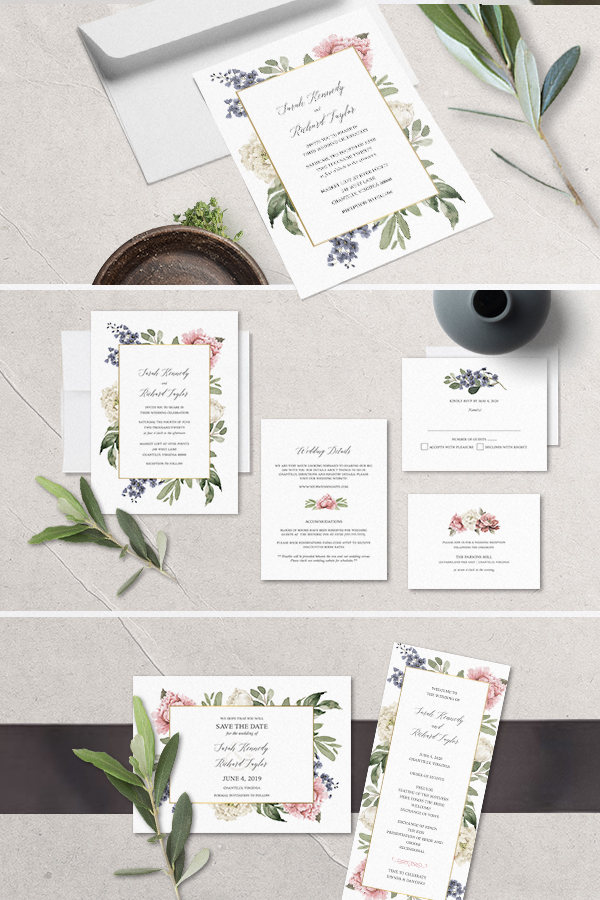 Floral Wedding Invitations Watercolor Greenery Garden Blooms