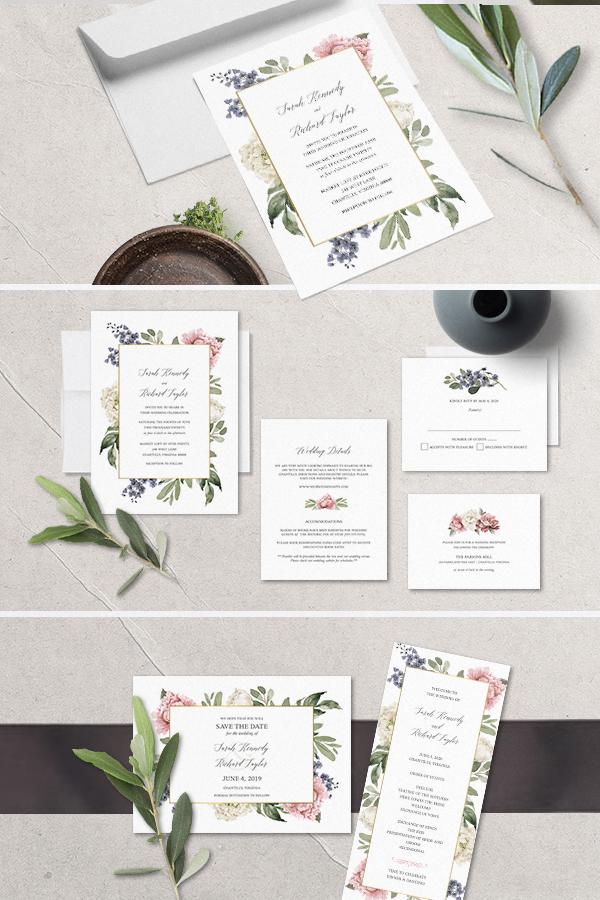 Floral Wedding Invitations Watercolor Greenery Garden Blooms