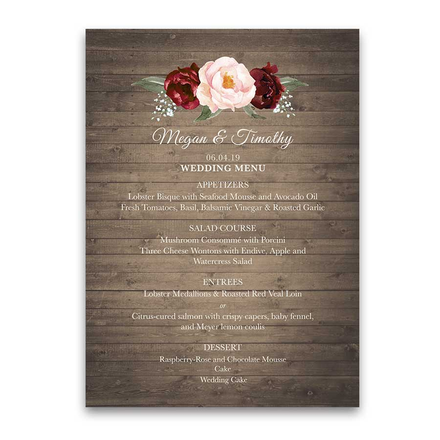 Floral Wedding Menu Burgundy Blush Floral Rustic