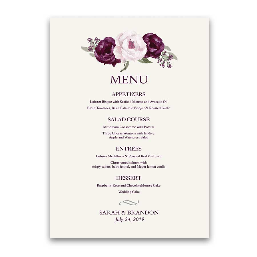 Custom Wedding Menus Eggplant Purple Watercolor Floral