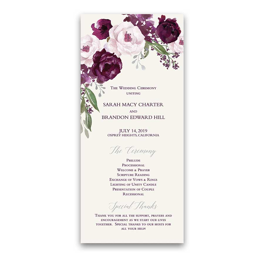 Purple Floral Wedding Programs Watercolor Flowers