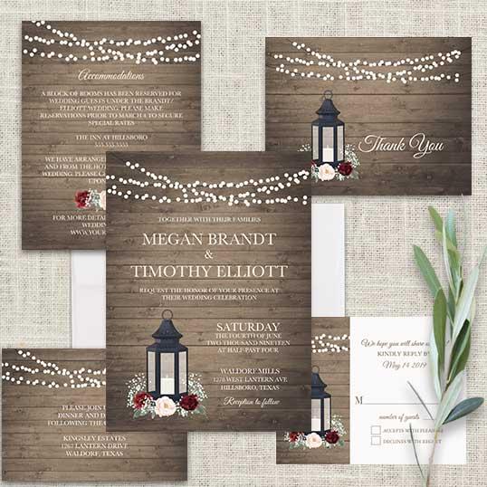rustic metal lantern wedding invitations burgundy floral - Lantern Wedding Invitations