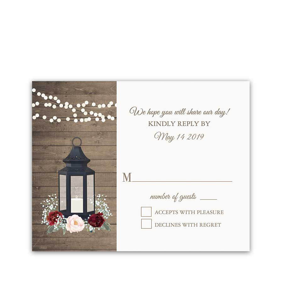 Rustic Metal Lantern Wedding Response Cards Burgundy Floral