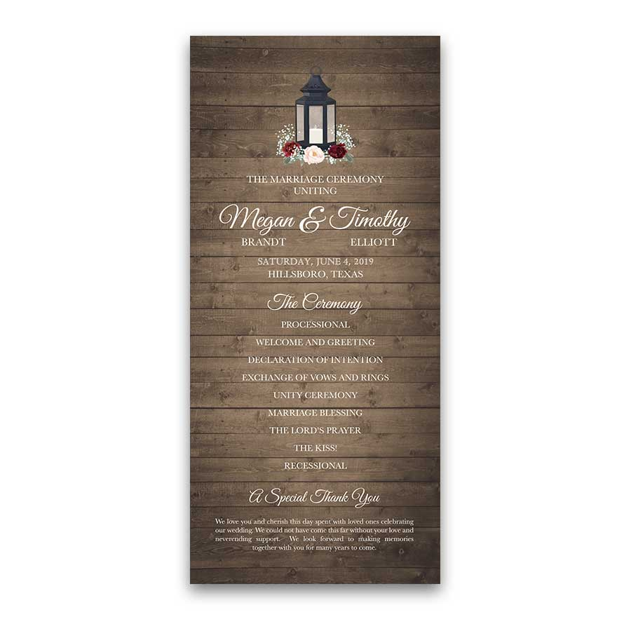 Metal Lantern Wedding Programs Blush Burgundy Florals